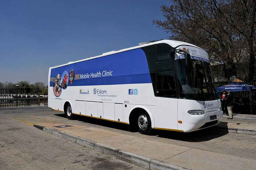 Eskom mobile health clinic parked visiting a community