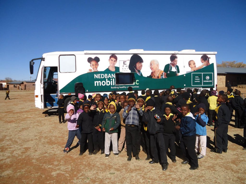 Nedbank mobile clinic visiting a school