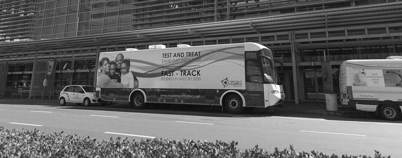 HIV mobile clinic parked outside CTICC building
